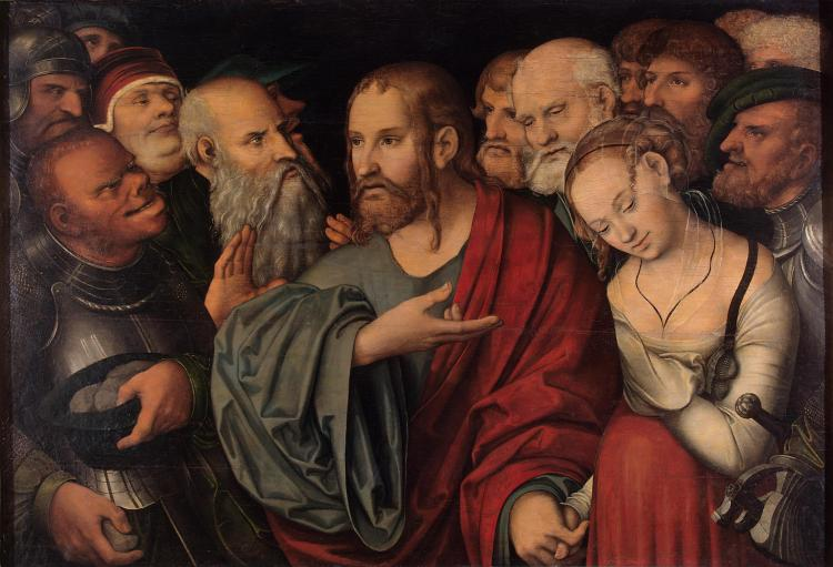 Cranach_the_Younger_Lucas_-_Christ_and_the_adulteress